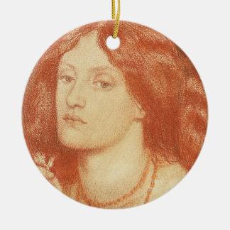 Retrato de Elizabeth Siddal (1834-62), 1860 (rojo Adorno Navideño Redondo De Cerámica
