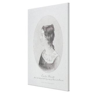 Retrato de Emily Bronte (1818-48) grabado por Wal Impresiones En Lona Estiradas
