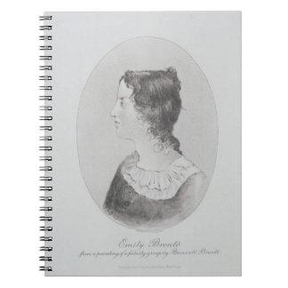 Retrato de Emily Bronte (1818-48) grabado por Wal Libreta Espiral