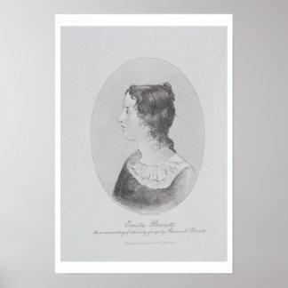 Retrato de Emily Bronte (1818-48) grabado por Wal Póster