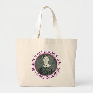 Retrato de Emily Dickinson con cita Bolsa Tela Grande