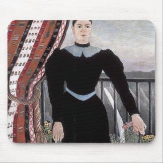 Retrato de Enrique Rousseau- de una mujer Tapetes De Ratones