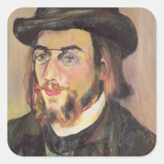 Retrato de Erik Satie c.1892 Pegatina Cuadrada