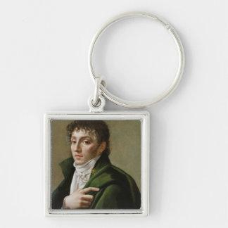 Retrato de Etienne-Enrique Mehul 1799 Llavero Cuadrado Plateado