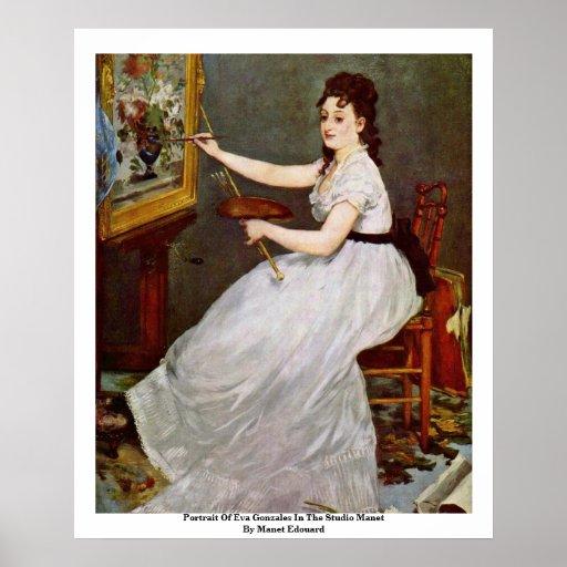 Retrato de Eva Gonzales en el estudio Manet Posters