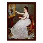 Retrato de Eva Gonzales en el estudio Manet Tarjetas Postales