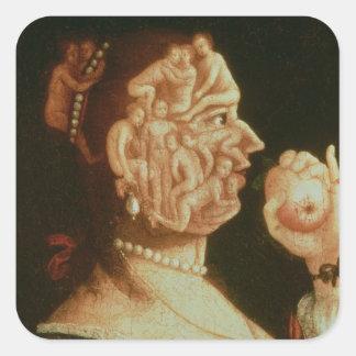 Retrato de Eve (aceite) Calcomanías Cuadradass Personalizadas