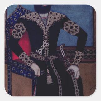 Retrato de Fath-Ali, Shah de Irán, Pegatina Cuadrada
