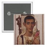 Retrato de Fayum de Ammonius, de Antinoe Pin Cuadrada 5 Cm