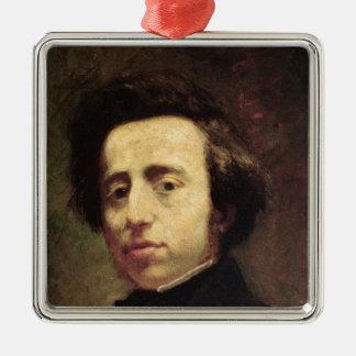 Retrato de Federico Chopin 2 Adorno Navideño Cuadrado De Metal