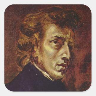 Retrato de Federico Chopin de Eugene Delacroix Pegatina Cuadrada