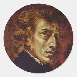 Retrato de Federico Chopin de Eugene Delacroix Pegatina Redonda