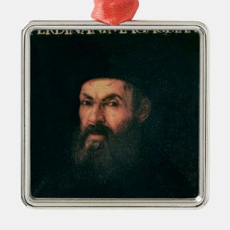 Retrato de Fernando de Magallanes Adorno Cuadrado Plateado