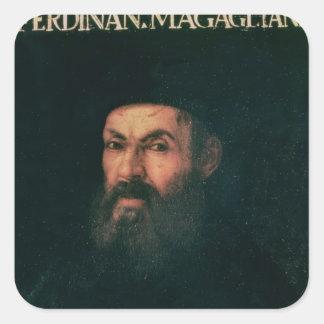 Retrato de Fernando de Magallanes Calcomanias Cuadradas