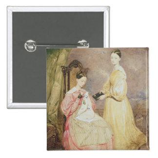 Retrato de Florence Nightingale y de ella Pin Cuadrado