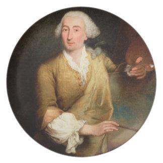 Retrato de Francesco Guardi (1712-93) (el aceite e Plato De Cena