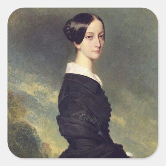 Retrato de Francisca Caroline de Braganca 1844 Pegatina Cuadrada