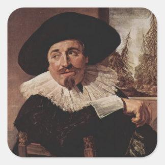 Retrato de Francisco Hals- de Isaak Abrahamsz Calcomanías Cuadradas
