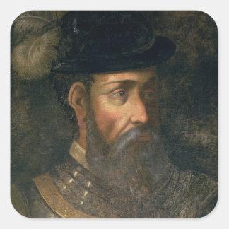 Retrato de Francisco Pizarro (c.1478-1541) Spanis Pegatina Cuadrada