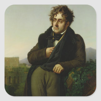 Retrato de Francois Rene Vicomte Pegatina Cuadrada