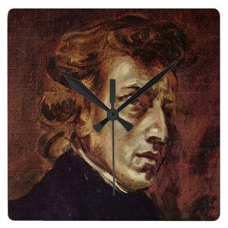 Retrato de Frédéric Chopin Reloj Cuadrado