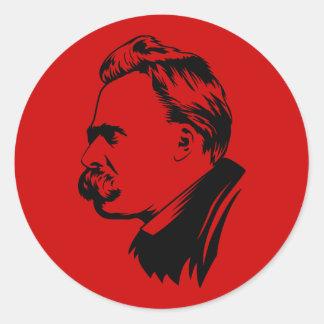 Retrato de Frederich Nietzsche Pegatina Redonda