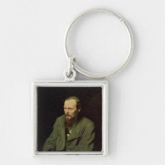 Retrato de Fyodor Dostoyevsky 1872 Llavero Cuadrado Plateado