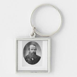 Retrato de Fyodor Mikhailovich Dostoyevsky Llavero Cuadrado Plateado
