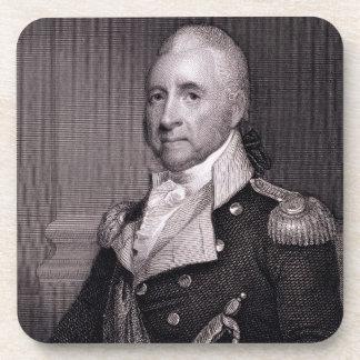 Retrato de general importante Juan Brooks, grabado Posavasos