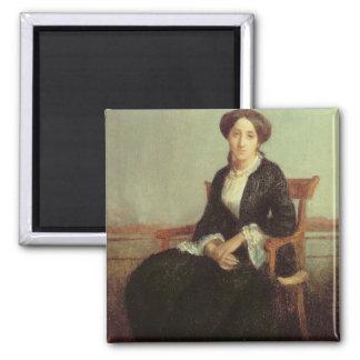 Retrato de Genevieve Celine, 1850 (aceite en lona) Imán Cuadrado