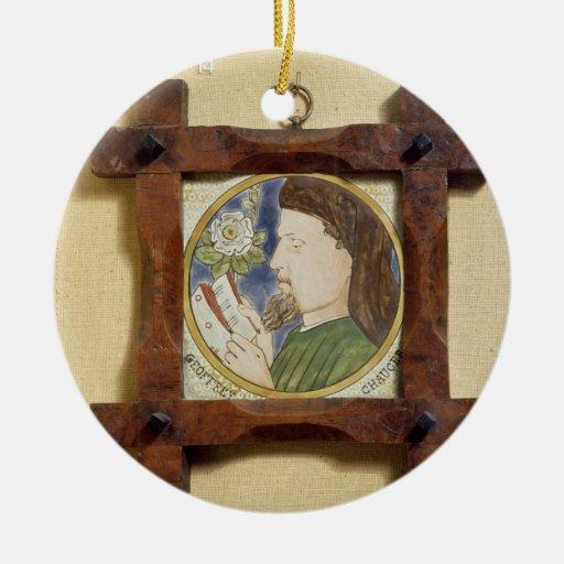 Retrato de Geoffrey Chaucer (c.1340-1400) (cerami Adorno Navideño Redondo De Cerámica