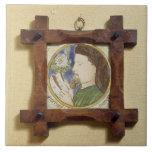 Retrato de Geoffrey Chaucer (c.1340-1400) (cerami Azulejo Cuadrado Grande