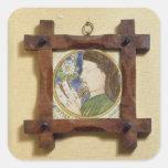 Retrato de Geoffrey Chaucer (c.1340-1400) (cerami Pegatina Cuadrada