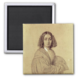 Retrato de George Sand 1837 Imán Cuadrado