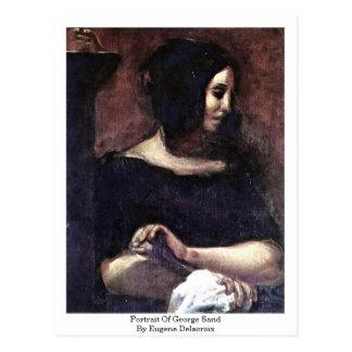 Retrato de George Sand de Eugene Delacroix Tarjetas Postales