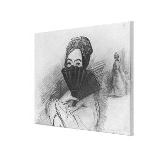 Retrato de George Sand detrás de su fan Impresión En Lienzo