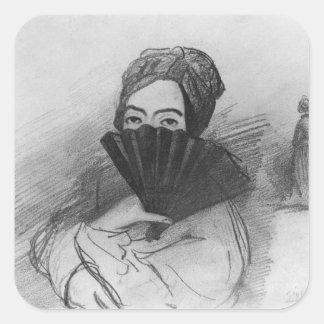 Retrato de George Sand detrás de su fan Pegatinas Cuadradas Personalizadas