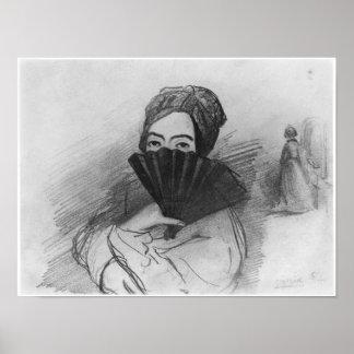 Retrato de George Sand detrás de su fan Póster