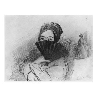Retrato de George Sand detrás de su fan Postal