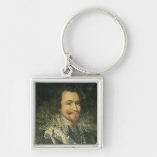 Retrato de George Villiers, 1r duque de Buckingha Llavero Cuadrado Plateado
