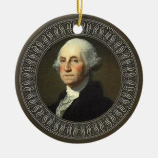 Retrato de George Washington Adorno Navideño Redondo De Cerámica