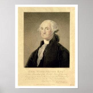 Retrato de George Washington, grabado por Guillerm Posters