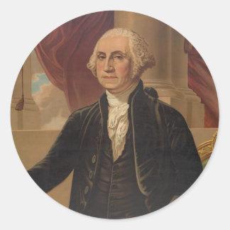 Retrato de George Washington Pegatina Redonda