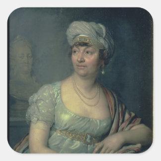 Retrato de Germana de Stael, 1812 Calcomanías Cuadradases