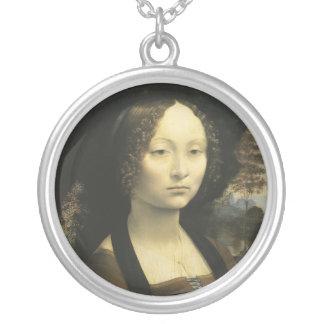 Retrato de Ginevra de Benci circa 1476 Collar Plateado