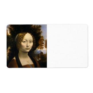 Retrato de Ginevra de Benci de Leonardo da Vinci Etiquetas De Envío