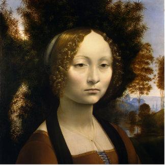 Retrato de Ginevra de Benci de Leonardo da Vinci Fotoescultura Vertical