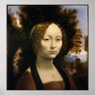 Retrato de Ginevra de Benci de Leonardo da Vinci Posters