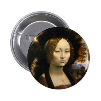 Retrato de Ginevra de Benci de Leonardo da Vinci Pin Redondo De 2 Pulgadas