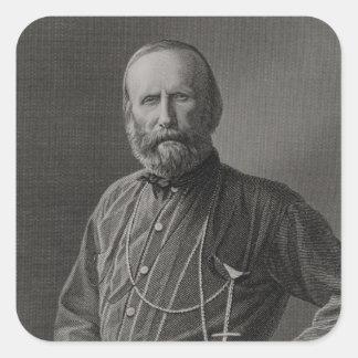 Retrato de Giuseppe Garibaldi Pegatina Cuadrada